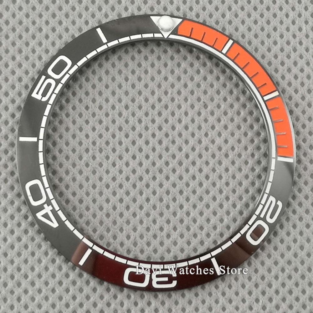 High Quality Watch Bezel 40mm Black/deep Blue Orange Ceramic Watch Bezel Insert For 43mm Parnis Automatic Men's  Watch