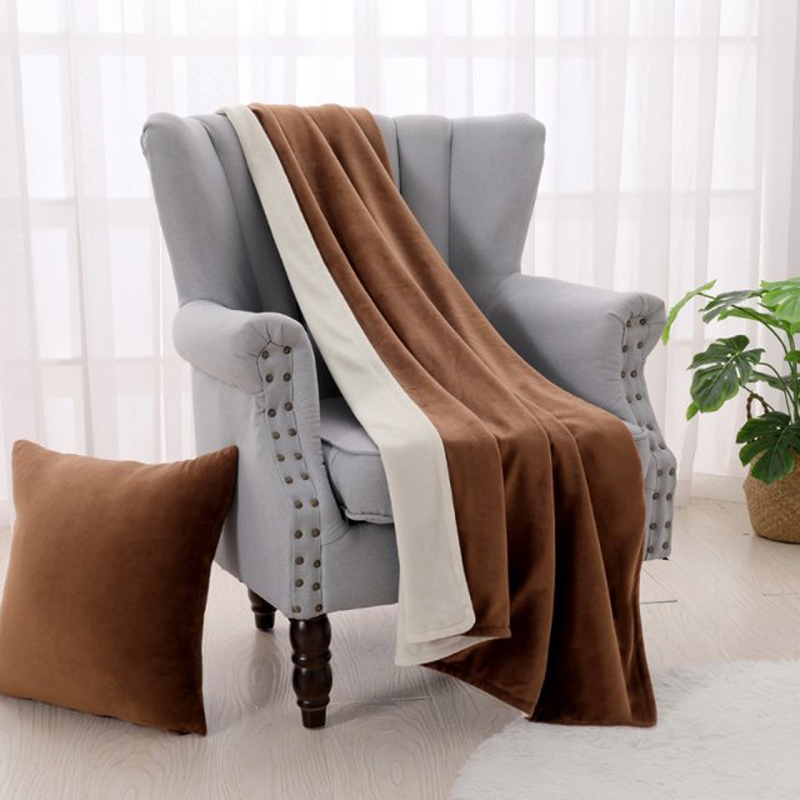 Super Soft Velvet Plush Blanket Double Side Solid Bedspread Warm Blankets For Sofa Office Bedding Cars Portable Home Hotel Decor