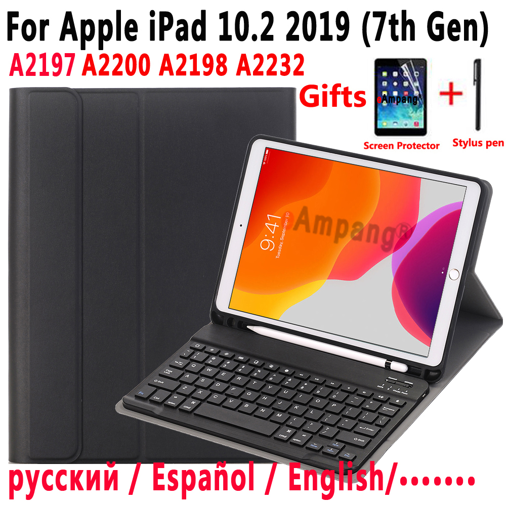 Case Keyboard For Apple iPad 10.2 2019 7 7th Gen Generation A2197 A2200 A2198 A2232 Case for iPad 10.2 Keyboard Cover +Film +Pen image