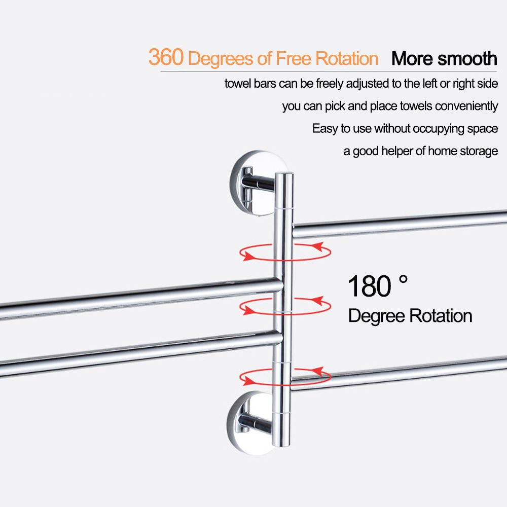 Image 3 - 4 Layers Stainless Steel Towel Rack Rotating Tower Bar Wall Mounted Tower Holder Shower Hook For Bathroom Organizer HardwareBathroom Accessories Sets   -