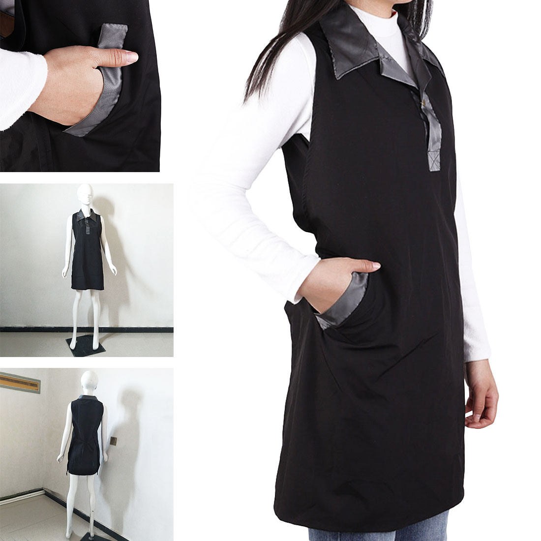 1pcs Wholesale/retail Salon Barber Shop Hair Salon Tea Cafe Black Apron Manicure Hairdressing Work Clothes Technician's Uniform