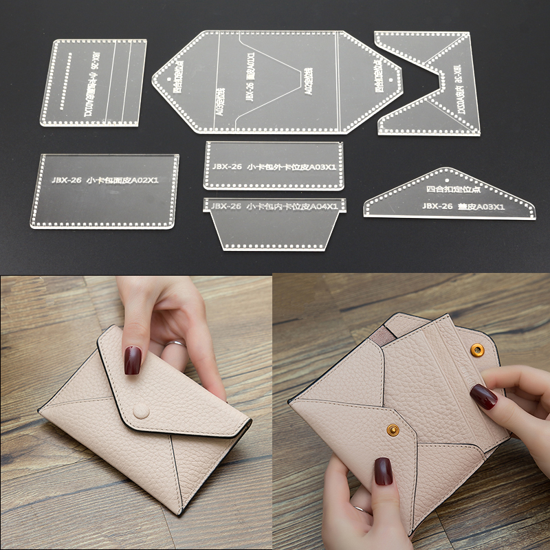 1Set DIY Acrylic Template Fashion Multifunction Business Card Holder Leather Craft Pattern DIY Stencil Sewing Pattern 12cm*8cm