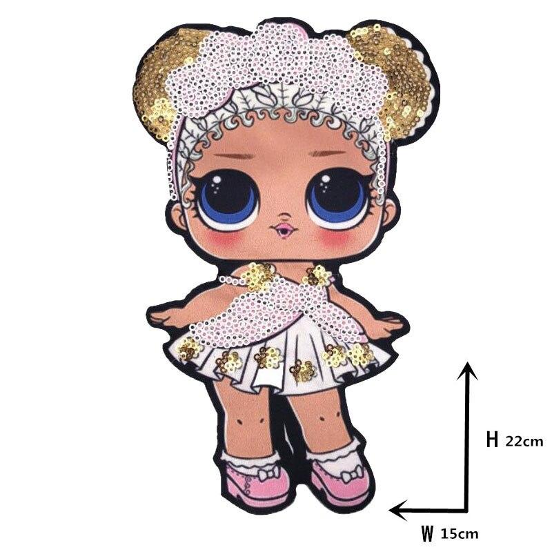 Мультяшные нашивки женские модные куклы лол для девочек Милая Модная Кукла-мальчик вышивка на одежду ручная работа украшение одежды Блестки Ткань - Цвет: WW-17