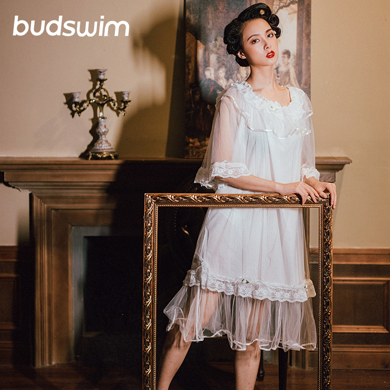 Victorian   Nightgown     Sleepshirts   Vintage Sleepwear Women Nightwear sleep Dress Romantic Nightdress Cotton Night Lounge Wear