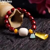 Uglyless Elastic Rope Wood Bracelets for Women Amber Beeswax Bracelets Sandalwood Beading Bangles Gemstones Fine Jewelry BR314