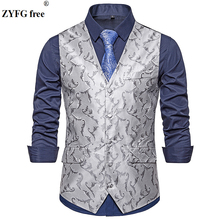 ZYFG free brand mens casual style suit vest men Flower embroidery pattern coat Single-breasted plus size Tops