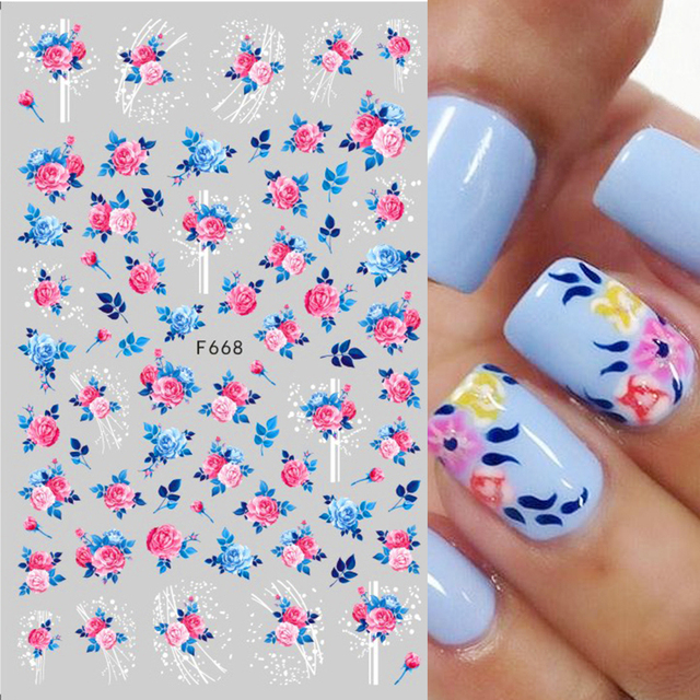 1Pc 3D Nail Sticker Decals National Flag Flowers Butterfly Decorations Sliders DIY Manicure Nail Art Watermark Decor CHF662-671