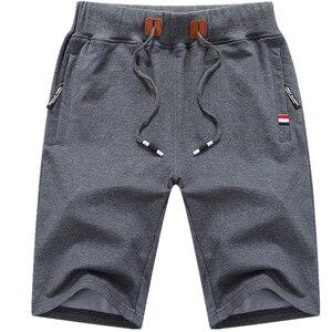 Image 1 - Шорты мужские пляжные хлопковые, повседневные однотонные бордшорты, эластичные модные короткие бриджи, лето 1012