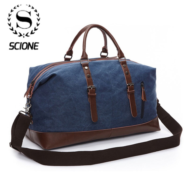 Scione Men Canvas Travel Shoulder Luggage Bags Large Capacity Handbag Business Casual Vintage Leather Simple Tote Bag For Women 1