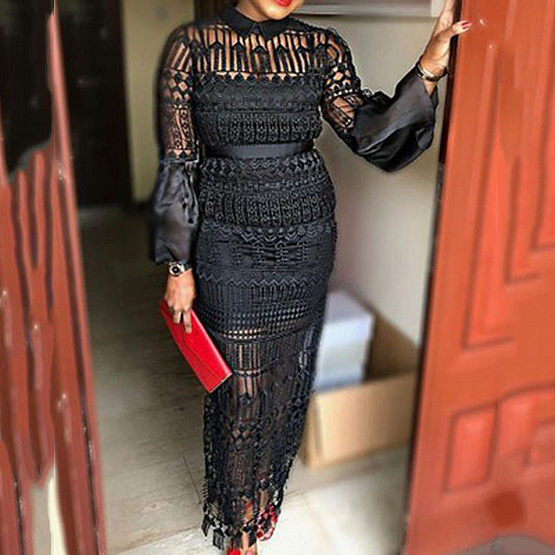 Summer Hollow Out Black Long Sleeve Lace Sheer Dress For Women Party Long Vestidos Round Neck Party Dinner Club Maxi Dress 2020