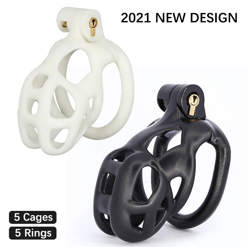 Mais novo 3d impressão pau gaiola pênis manga plástico lockable cobra masculino dispositivo de castidade pênis anéis adultos jogos brinquedos sexuais para homem