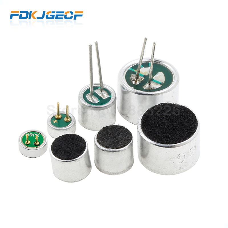 10pcs 4.5*2.2mm 6*2.2mm 6*5mm 9*7mm Electret Microphone Condenser Pickup Microphone 52DB 56DB With 2pin