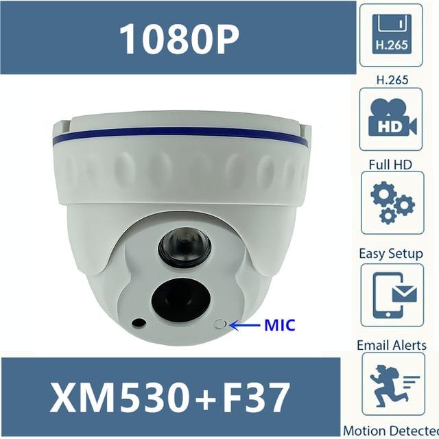 Built In מיקרופון IP כיפה מצלמה ברור אודיו 2MP 1080P H.265 XM530 + F37 עם IRC 42MIL אינפרא אדום LED ONVIF עם רדיאטור CMS XMEYE