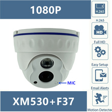 Built In MIC IP Dome Camera Clear Audio 2MP 1080P H.265 XM530+F37 with IRC 42MIL Infrared LED ONVIF with Radiator CMS XMEYE