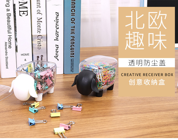 1Pcs Creative Mini Plastic Cotton Dust-proof Desktop Organizer Cosmetic Sheep Swab Elephant Cute Storage Box Storage Box Candy
