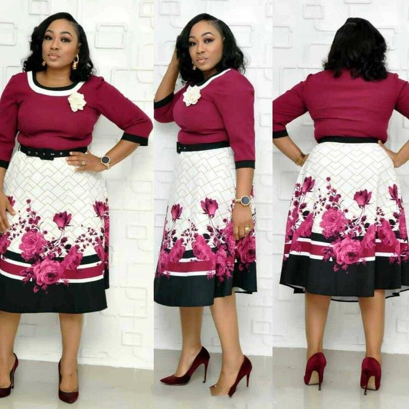 2019 novità elegante autunno donne Africane di stampa di grandi dimensioni al ginocchio-lunghezza del vestito L-3XL