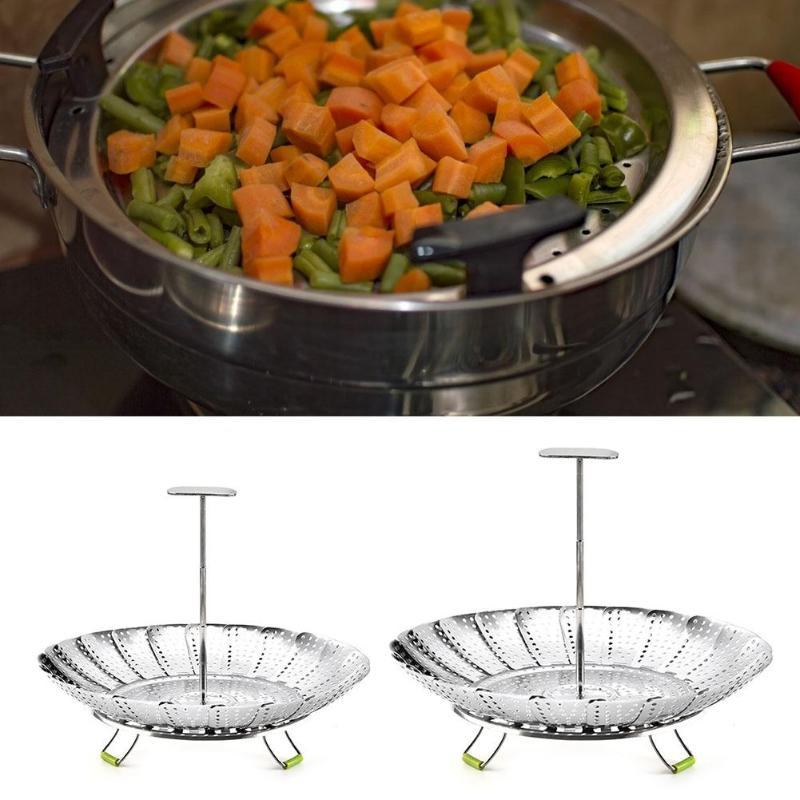 Food Steamer Stainless Steel Vegetable Fruits Mesh Basket Kitchen Cook Tool  Folding Food Fruit Vegetable Vapor Cooker Stainless