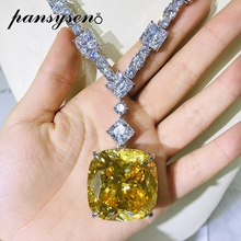 Necklaces Pendent Citrine Moissanite Gemstone 100%925-Sterling-Silver Fine-Jewelry Wedding