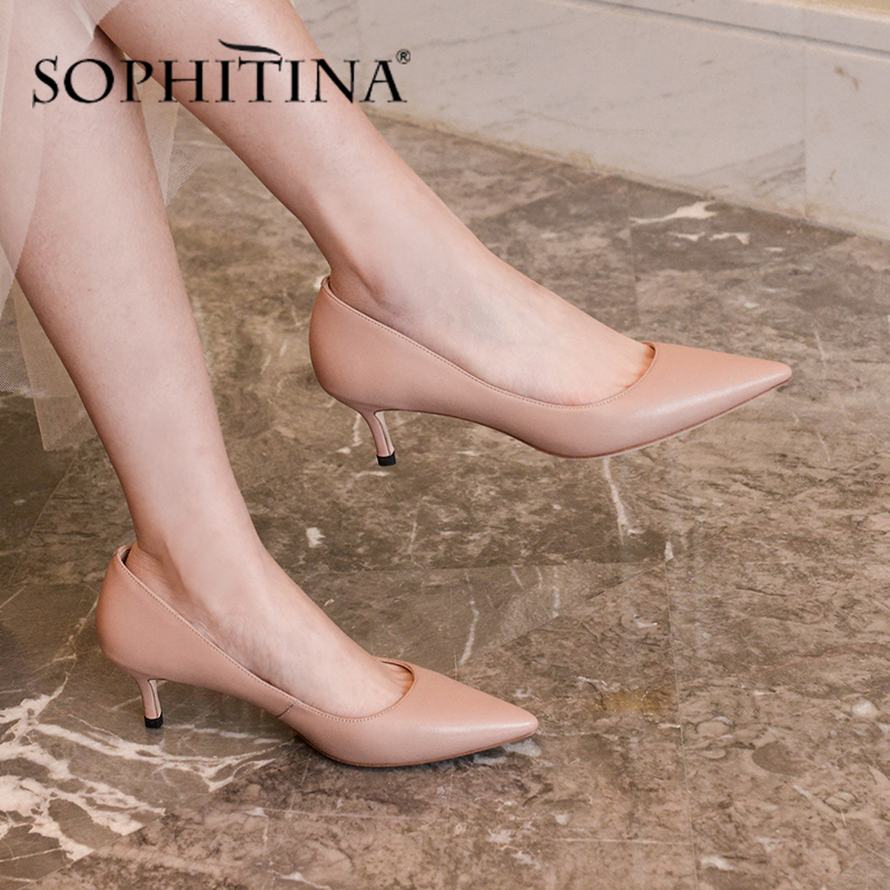 SOPHITINA Handemade Pumps Women Concise Thin Heel  Pointed Toe Sheepskin High Heel Fashion Pumps Atmospheric Mature Shoes SO485