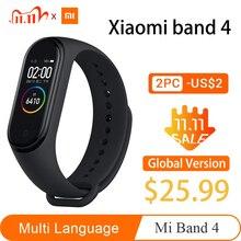 Xiaomi Mi bande 4 Original plus récent Xiaomi Miband 4 Bracelet 3 couleur fréquence cardiaque Fitness 135mAh couleur écran Bluetooth bande intelligente