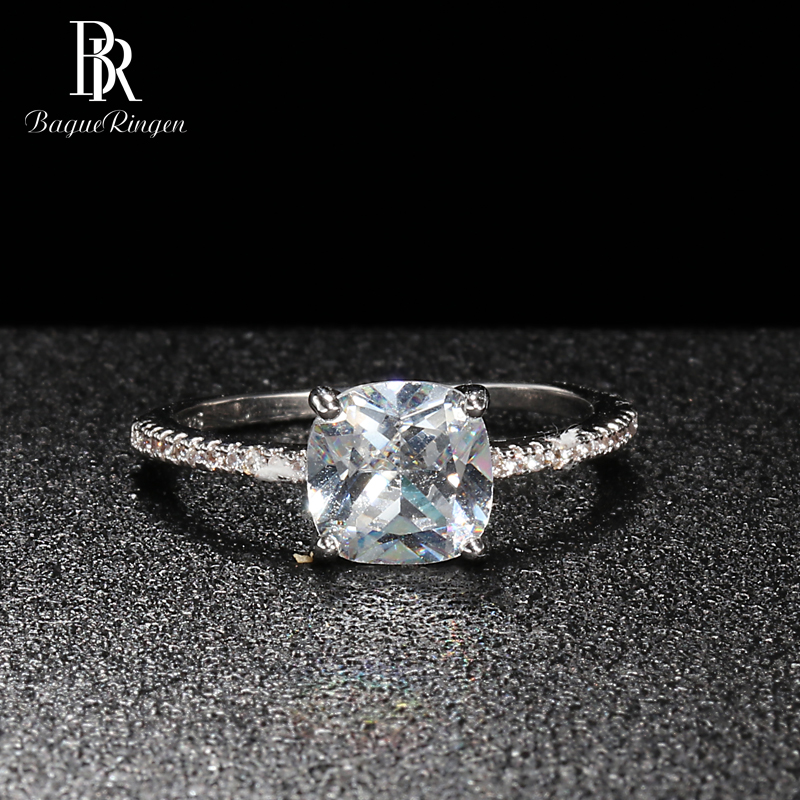Bague Ringen Classic Silver 925 Jewelry For Women Engagement Rings Square Gemstones Geometry AAA Zircon Princess Wedding Gift