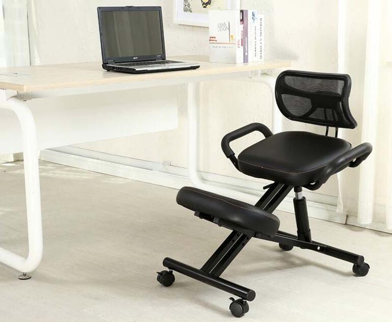 Ergonomsko oblikovan kolenski stol s hrbtnim in ročajem Pisarniški - Pohištvo - Fotografija 5