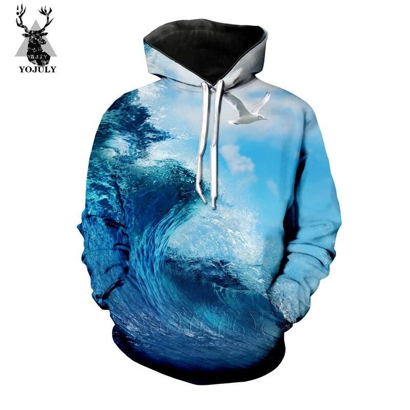 New Funny 3D Ocean Surf T Shirt Fashion Men's Sets Novelty Seagull T-Shirts/hoodie/Sweatshirt Cool Hip Hop O-neck Streetwear Top