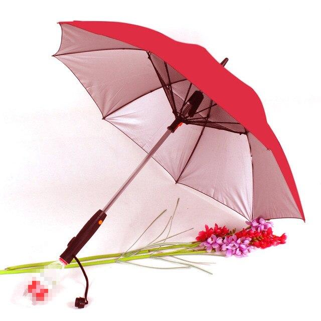 Parapluie d t longue poign e Parapluie ensoleill et de pluie 4 couleurs avec ventilateur et