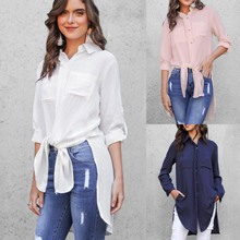 2019 Fashion White Blue Pink Casual Blouse White Long Sleeve Tops Women Summer Clothing Shirt Womens Tops and Blouse blouse 1207041 13