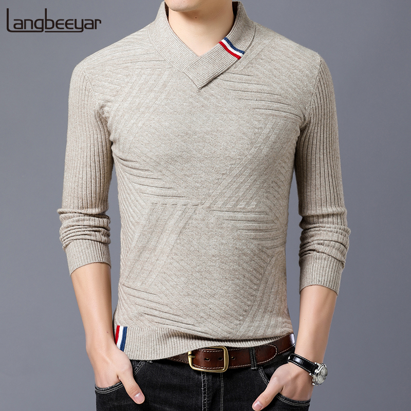 2019 New Fashion Sweaters Men's Pullovers V Neck Slim Fit Jumpers Knitwear Jacquard Winter Korean Style Casual Mens Clothes