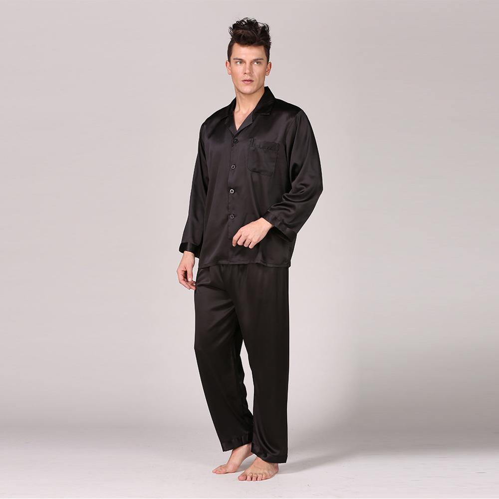 Pajamas Men Sleepwear Nightgown Satin Silk Male Home Autumn for Soft-Cozy Modern-Style
