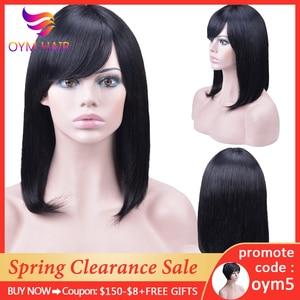Malezyjska prosta peruka z naturalnych krótkich włosów z dzieckiem włosy Bob peruka ludzkich włosów peruki dla czarnych kobiet darmowa wysyłka