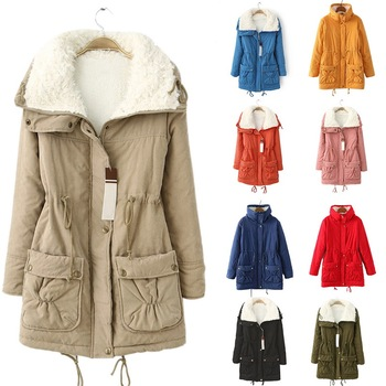 цена на Fleece Winter Jacket Women Solid Fur Collar Jacket Outerwear Coats 3XL Thick Warm Casual Slim Padded Ladies Parka Clothes
