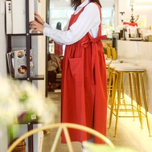 Long Cotton Apron Florist Artist Painter Craft Flower Shop Work Wear Waitress Cafe Barista Pastry Chef Catering Uniform E87