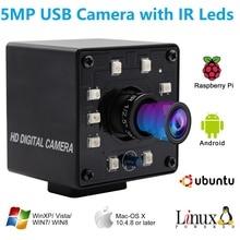 Elp Usb 2.0 Camera Hd 5MP Otg Uvc Plug Play Mini Nachtzicht Ir Cut Infrarood Usb Webcam Camera Voor android Linux Windows