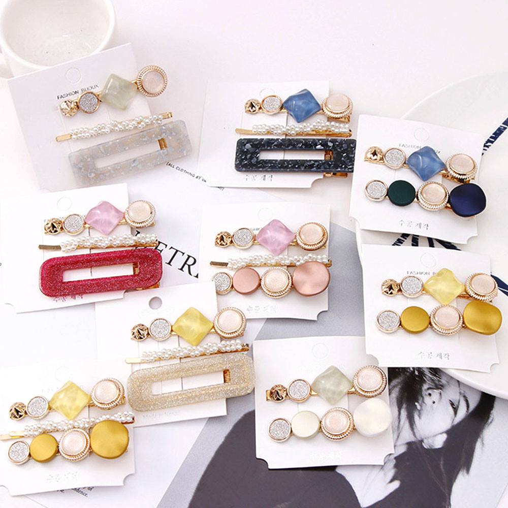 New 3PCS/Set Fashion Pearls Acetate Geometric Hair Clips For Women Girls Sweet Hairpins Barrettes Hair Accessories Set