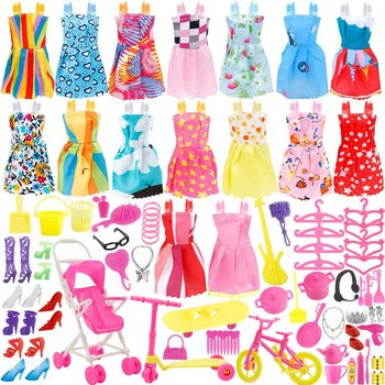 114PCS Doll Clothes Party Gown Shoes Bag Necklace Mirror Hanger Accessory Doll Accessory 1