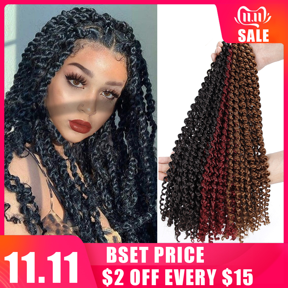 18'' Crochet Braid Hair For Braiding Synthetic Hair Extension Passion Twist Long Bohemian Curly Crochet Hair