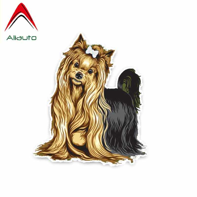 Aliauto Yorkshire Terrier Breed Dog Car Decoration Bumper Window Sticker Waterproof Reflective Creative Decal Vinyl,13cm*11cm