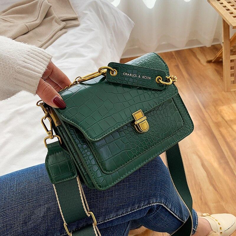 Stone Pattern Small Bag Women's Bag 2019 New  Wide Shoulder Strap Small Square Bag Fashion Shoulder Messenger Bag