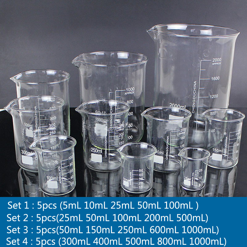1set Lab Borosilicate GLass Beaker All Sizes Chemical Experiment Laboratory Equipment All Sizes