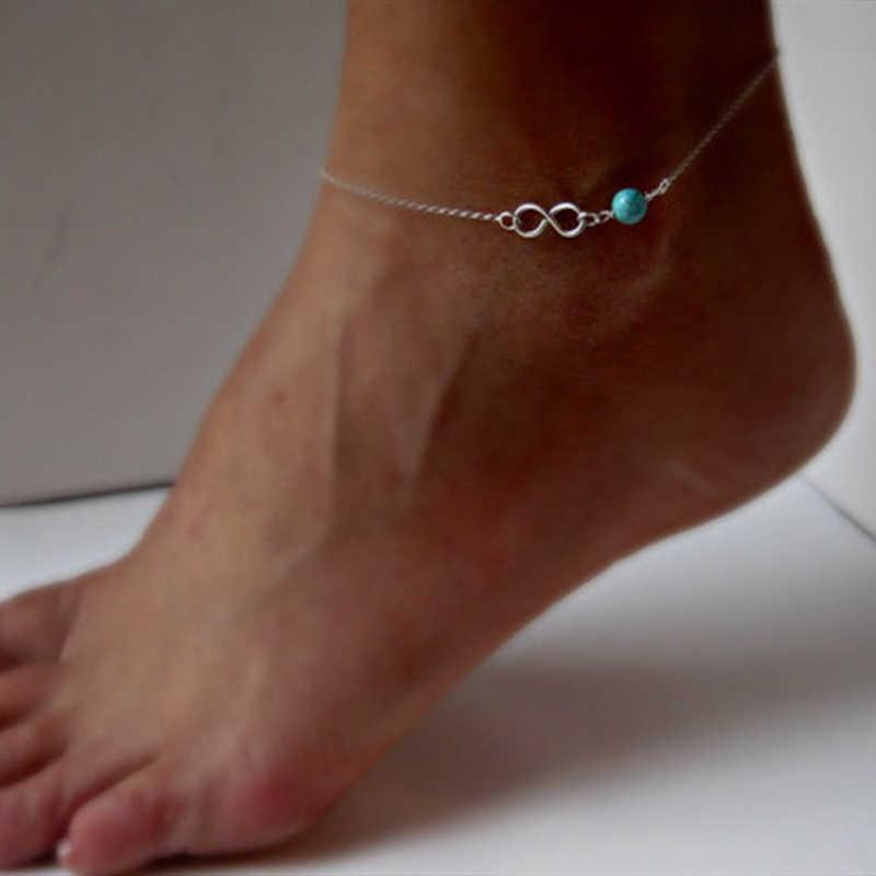 Femmes Éternellement Infini bracelet de cheville à breloques 8 chaîne Bracelets De cheville Sur Jambe Sexy Sandale Aux Pieds Nus Plage Argent Or Pied Bijoux Pour Les Filles