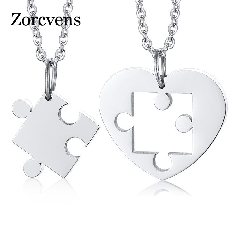 ZORCVENS 2 pcs/ Set Heart Puzzle Pendants for Women Men Never Fade Stainless Steel Couple Necklaces Anniversary Gift