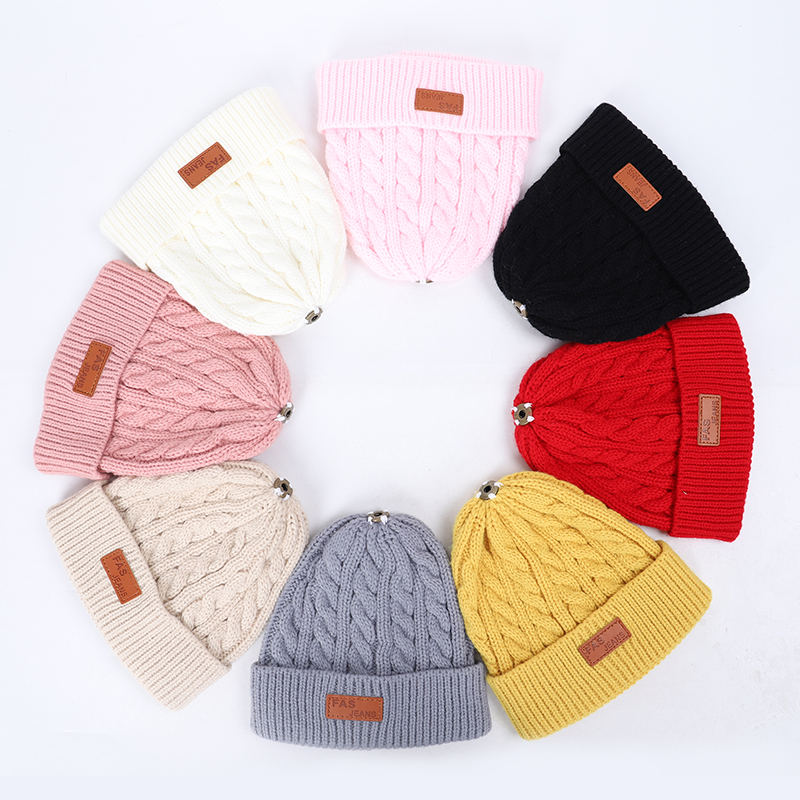 2019 new high quality winter children's pompom knit beanie Boys girls Solid color casual hat Kids warm Soft cap Baby beanies 2