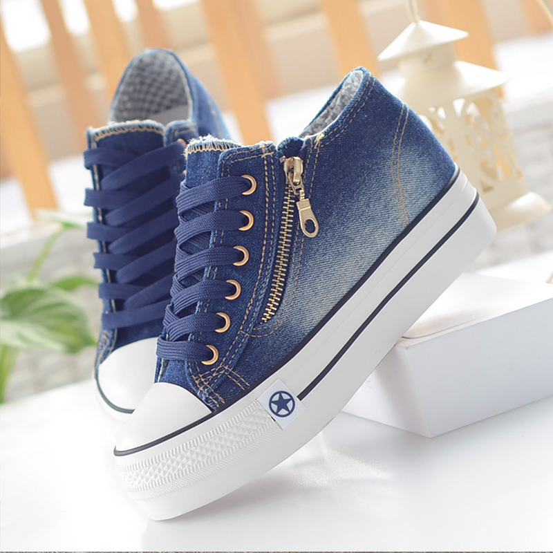 Women's Platform Sneakers Lace Up Comfortable Canvas Shoes Women Solid Casual Woman Sneakers Rubber Calzado Mujer