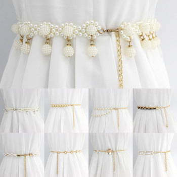 Flower Elastic Buckle Chain Cummerbunds Female Girls Dress Crystal Strap Waistband Gift Elegant Womens Pearl Crystal Belt Waist