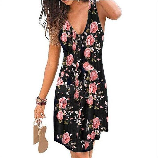 4XL 5XL Plus Size Dresses Women 2021 Sexy Summer Beach Short Dress Casual Sleeveless Deep V-Neck Ladies Folk Floral Print Dress 6