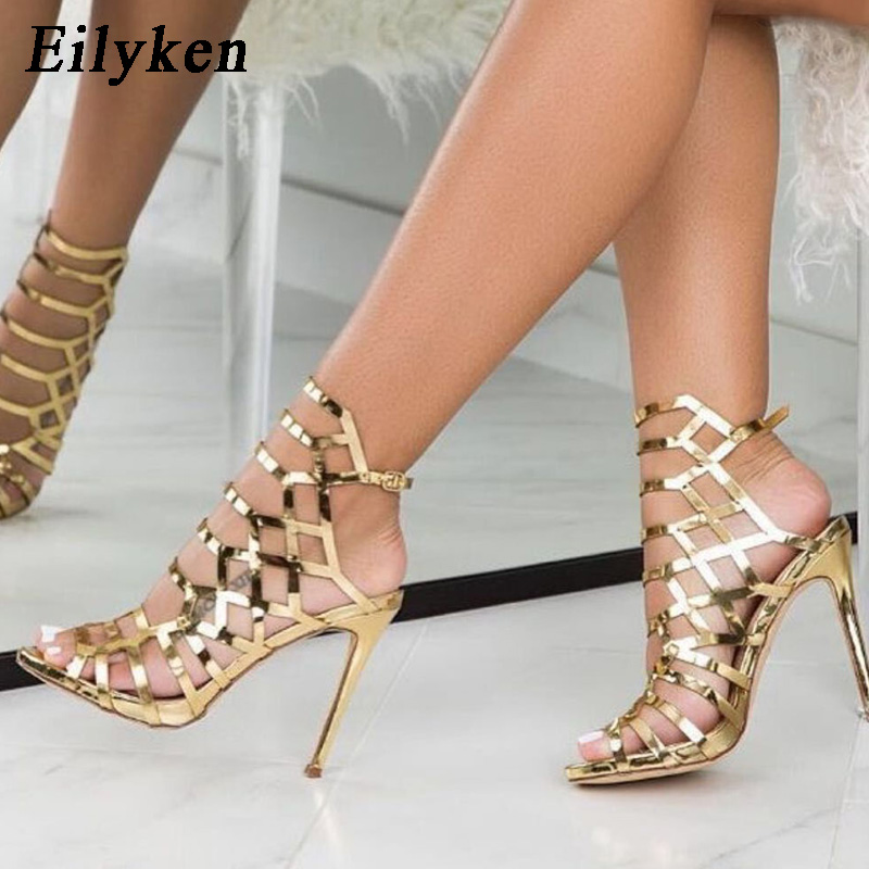 Eilyken 2020 New Design Open ToeThin Heels Gladiator For Women Sandals Champagne Fashion Buckle Back Strap Ladies Shoes