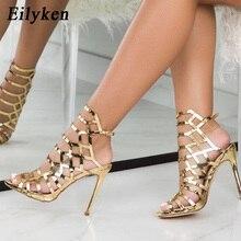 Eilyken 2020 تصميم جديد مفتوح ToeThin الكعوب المصارع للنساء الصنادل الشمبانيا موضة مشبك حزام الظهر السيدات الأحذية