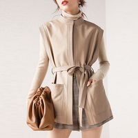 Leather Sheepskin Vest Womens Classical Designs Solid Lacing Belt Pockets Sleeveless Coat 2 Colors Casual Vest New Fashion Style